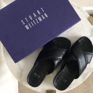 Stuart Weitzman Black Napa Spa crossover sandals